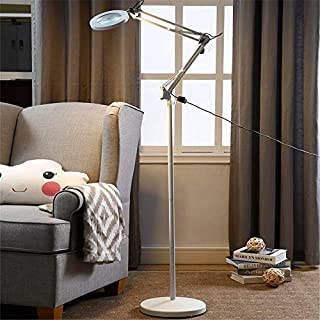 Dertyped Living Room Standing Light Reading Standing Led Floor Lamp with Magnifying Lens for Living Room Bedroom 2 Colors with LED Bulb (Color : White, Size : 2828180cm)