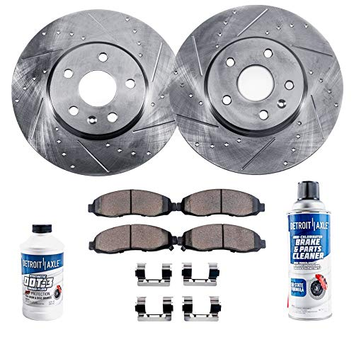 - Detroit Axle - Pair (2) Front Drilled and Slotted Disc Brake Rotors w/Ceramic Pads w/Hardware & Brake Cleaner & Fluid for 2002 2003 2004 2005 Ford Explorer/Mercury Mountaineer