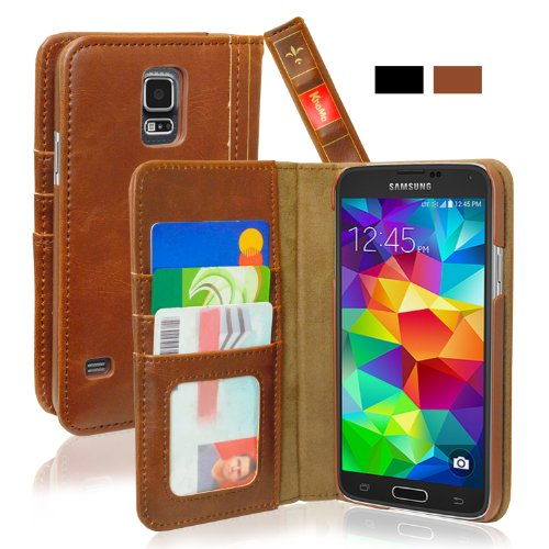 KHOMO Samsung Galaxy S5 Case - Brown Vintage Book Style Leather Cover