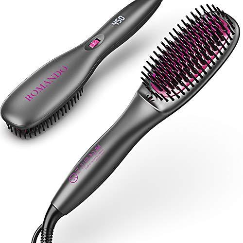 Hair Straightener Brush, ROMANDO Hair Straightening Brush, Ionic Hair Brush Straightener