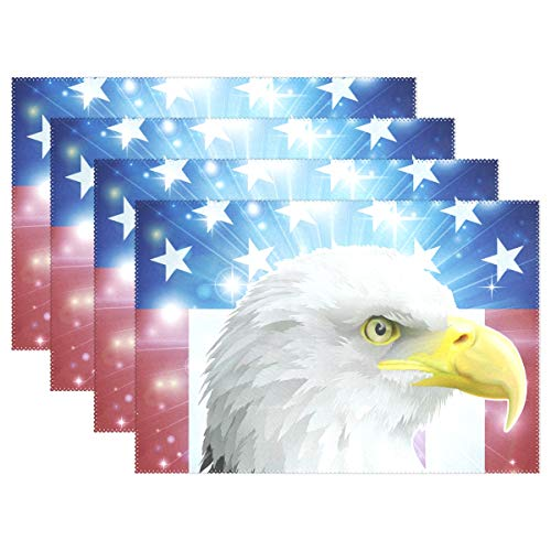 WIHVE Placemats Set of 6, America Bird Flag Concept Holiday Non Slip Heat-Resistant Washable Polyester Table Place Mats for Kitchen Dining Table, 12