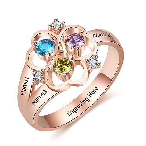 (Love Jewelry Personalized Mother Daughter Rings with 3 Simulated Birthstones Names Flower Rings for Women Promise Rings for Her (Rose Gold, 9))