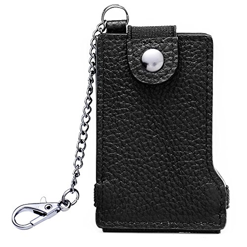 Coins Clip Band Black Spandex Money RFID Change Card Pouch Black Genuine leather Wallet Micro Purse Protection Holder ZTOxYF8q