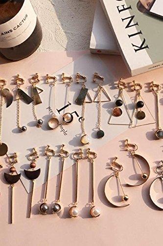 Generic No pierced ear clip ear buckle Korean temperament asymmetric artificial wood shell earrings tassel earrings long section - Asymmetric Buckle