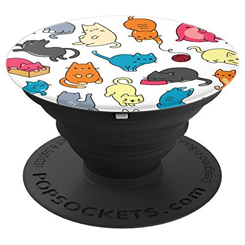 Cat Colorful (Cute Funny Cats Colorful Pattern - PopSockets Grip and Stand for Phones and Tablets)