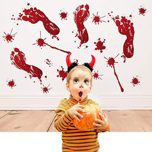 Vegan Halloween decroations Bloody Footprints,Werewolf Human Boot and Blood Splatter Decals for Party Supplies Props & Decor -