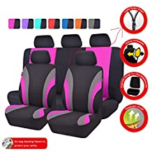 NEW ARRIVAL- CAR PASS Line Rider 11PCS Universal Fit Car Seat Cover -100% Breathable With 5mm Composite Sponge Inside,Airbag Compatible (Black with rose pink)