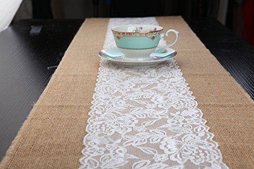Natural Burlap Table Runner w/ Center Lace Sew Edge Wedding Decor Rustic Shabby Chic Hessian Jute Outdoor Party YW (108