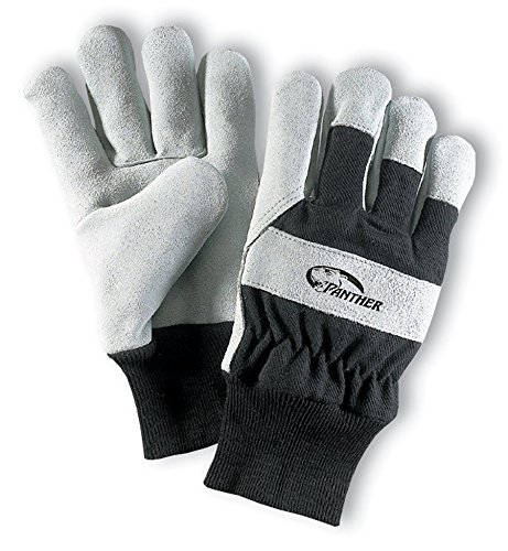 Galeton 2103-L Panther Select Leather Palm Gloves, Knit Wrist Cuff, Large, Black/Gray (Pack of 12) (Select Leather Palm Gloves)
