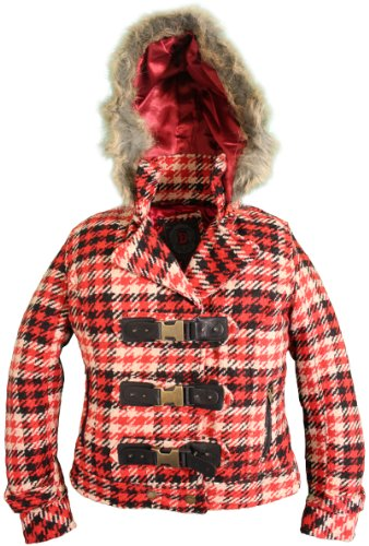 Buckle Front Jacket (Dollhouse Womens Classic Buckle Front Wool Blend Pea Jacket - Cocoa Pattern Red (Medium))