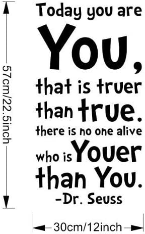 Ssummer Today You Are You That Is Truer Than True Quote Home Decal Dr Seuss Black Wall Decor