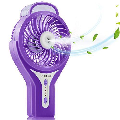 OPOLAR Handheld Misting Fan, USB Rechargeable Battery Operated Fan, 3 Settings, Water Spray Fan, Mini Portable Fan, Humidifier Mister Fan, 2200mAh Battery, for Travel and Camping