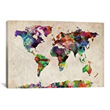 iCanvasART World Map Urban WatercolorII by Michael Thompsett Canvas Art Print, 40 by 26-Inch
