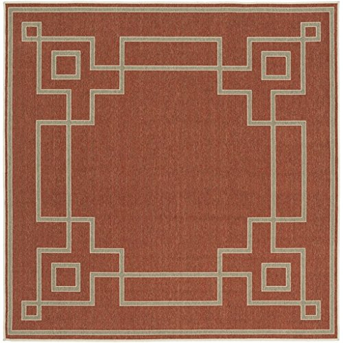 - Diva At Home 7.25' Mosaic Medley Cayenne Pepper Red and Sandy Beige Shed-Free Square Area Throw Rug