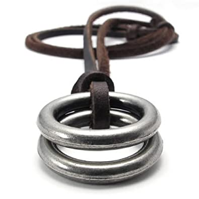 MOWOM Silver Tone Brown Alloy Genuine Leather Pendant Necklace Double Ring Adjustable ozzix