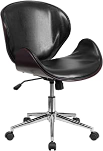 Flash Furniture Mid-Back Mahogany Wood Conference Office Chair in Black LeatherSoft