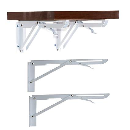 amazon com 2 pcs sturdy folding shelf brackets white hinge wall