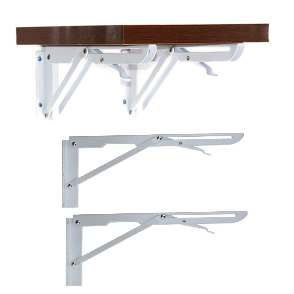 2 Pcs Sturdy Folding Shelf Brackets White Hinge Wall Mounted Metal Triangle Table Bench Folding Shelf Bracket (12 Inch)