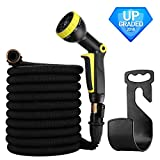 #10: Garden Hose 50ft- Expandable Water Hose Garden hose with 9 Function Spray Nozzle, Triple Latex Core, 3/4 Solid Brass Expanding Water Hose with Storage Bags & Hanger-No Leak (Black)