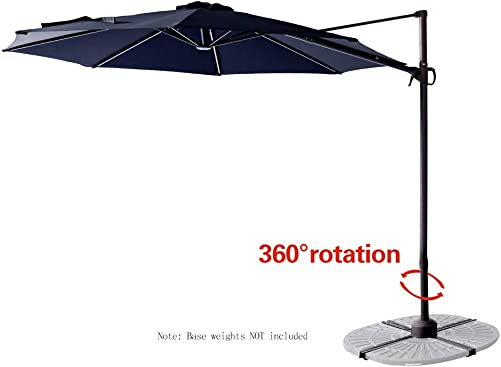 FLAME SHADE 10 ft Cantilever Offset Outdoor Patio Umbrella with Tilt – Navy Blue