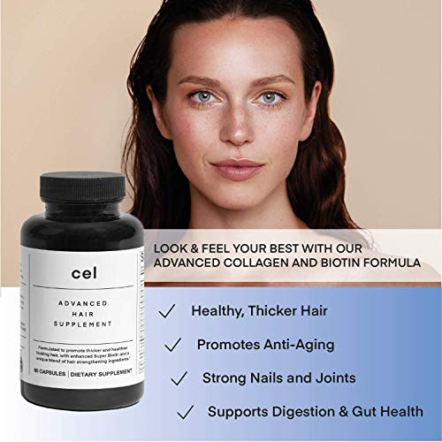 Cel Advanced Hair Supplement | Hair Vitamins for Thicker Fuller Hair | Stem Cell Technology with Collagen Peptides - Panax Ginseng, Super Biotin (60 Tablets)