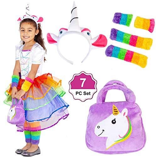 Girls Rainbow Unicorn Dress - 7PC Set - Cosplay Costumes - Unicorn Birthday Party 7-9 Yrs Old ()