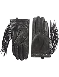 Women's Leather Studded Glove with Long Side Fringes