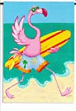 Cheap Tropical Pink Flamingo Surfer Surfing Standard Flag Banner