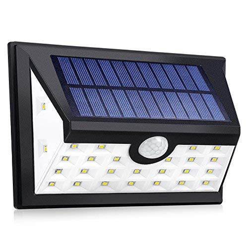 DOLUCKY 28 LED Illumination Solar Lights Bright - Waterproof Outdoor Wireless Security Motion Sensor Lights - Auto ON/Off - for Front Door, Yard, Garage, Pathway and Patio, Black