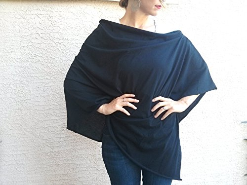 Bebebene - Full Nursing Cover Up - Also use as Scarf or Car Seat Cover - 100% Organic Cotton - Black
