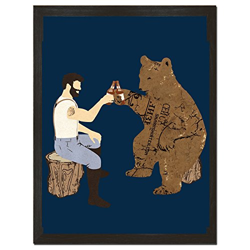 Beer Poster Bear and Lumberjack College Dorm Decorations Perfect boyfriend gift