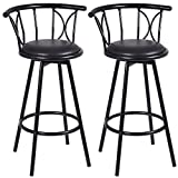 New 2 Pcs Black Barstools Modern Chairs Steel Counter Height Strength Stability