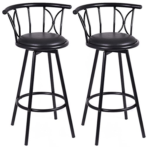 Swivel plate rotatable modern set of 2 black chairs swivel 360 degree steel counter barstools steel ball bearing - Brisbane Sales Day Boxing