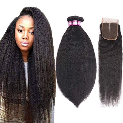 - Brazilian Kinky Straight Human Hair 3 Bundles With Closure (16 18 20 + 14) Yaki Human Hair Weave 8A Brazilian Virgin Kinkys Straight Hair Bundles With Lace Closure Middle Part Natural Color