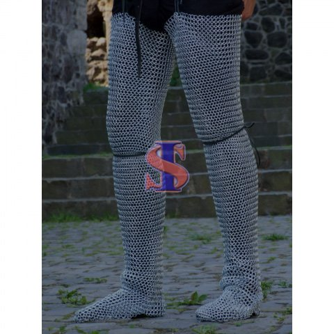 Souvenir India Legging Pair /Chausses Chainmail Medieval Armour 10mm Butted Zink Finish by Souvenir India
