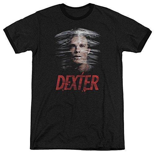 Dexter Plastic Wrap Mens Adult Heather Ringer Shirt Black (Dexter Ringer)