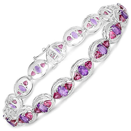 Amethyst Rhodolite Bracelet (Bonyak Jewelry Genuine Oval Amethyst and Rhodolite Garnet Bracelet in Sterling Silver)