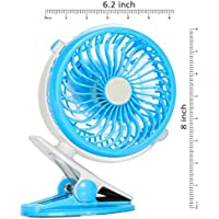 Indemoor Clip on Fan Usb And Battery Operated Cooling Fan For Travel, Camping, Portable Rechargeable Small Fan for Table, Office, Dorm, Baby Stroller