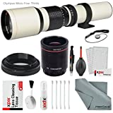 Super-Powered 500mm/1000mm f/8.0 Manual Telephoto Lens (White) with 2X Professional Multiplier for Olympus Digital Cameras and Deluxe Accessory Bundle with Xpix Cleaning Kit