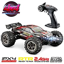 Hosim RC Car 1:16 Scale Electric Remote Control Monster Truck 9136, All Terrain 4WD High Speed Racing Vehicle 38km/h Off-Road Waterproof/Shockproof/Anti-Skid 2.4G Radio Controlled RTR Hobby Car Buggy for Kids and Adults Gifts (Red)