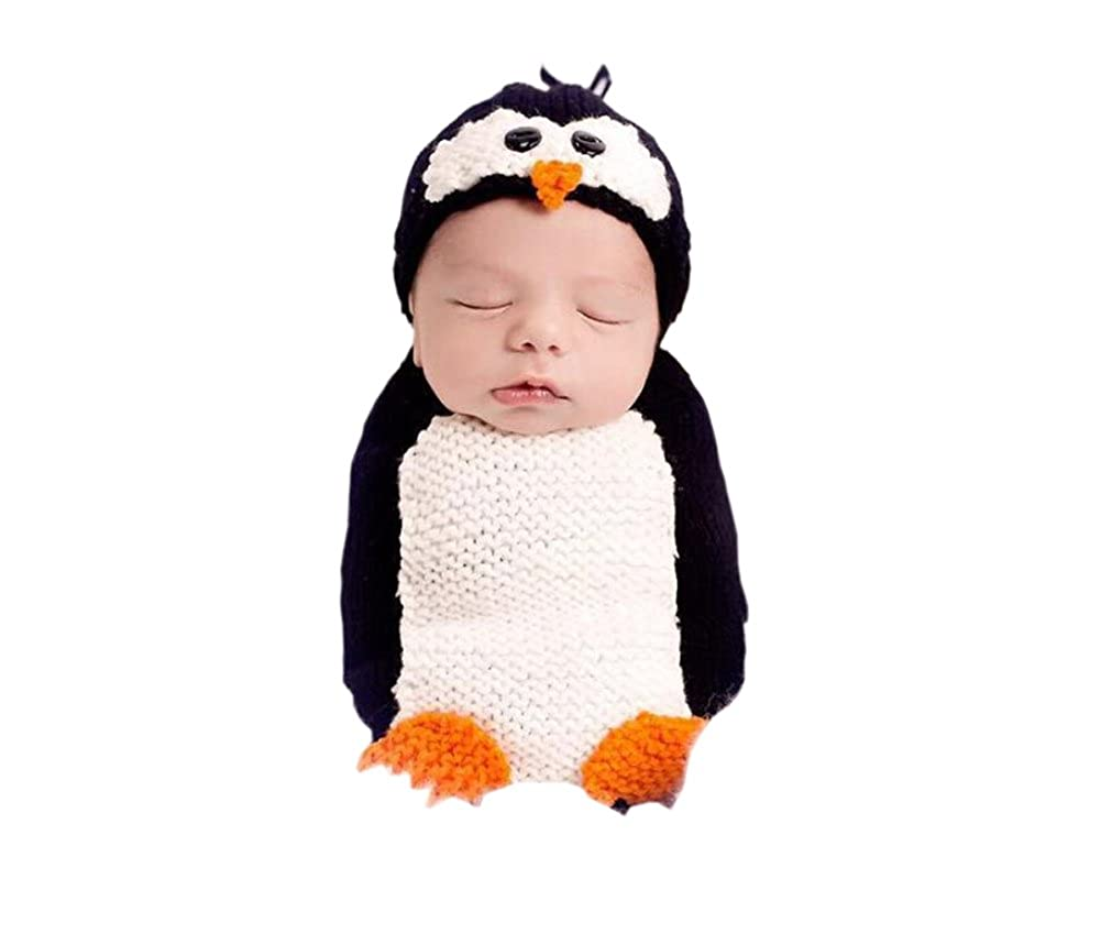 DELEY Baby Boys Girls Crochet Cosplay Penguin Costume Cute Infant Clothes Outfit Photo Props 0-6 Months FS0283