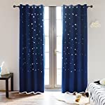 BUZIO Twinkle Star Kids Room Curtains (2 Panels) Thermal Insulated Blackout Curtains with Punched Out Stars for Space Themed Nursery and Bedroom