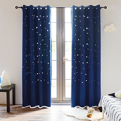 BUZIO A Pair Twinkle Star Kids Room Curtains with 2 Tiebacks Thermal Insulated Blackout Curtains with Punched Out Stars for Space Themed Nursery and Bedroom (52 x 84 Inches, Royal Blue)