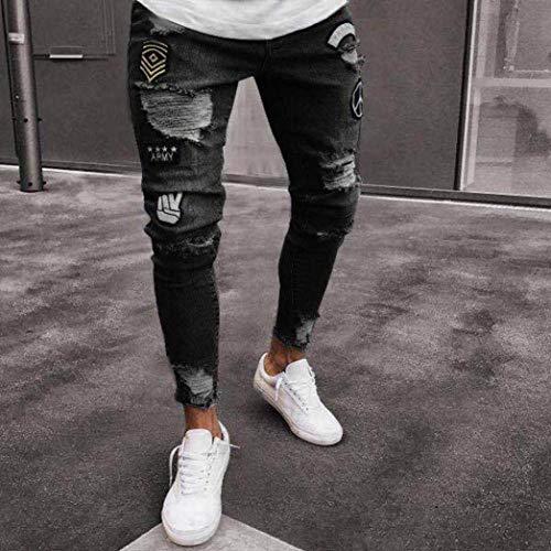 Sfilacciati Da Jeans Slim Uomo Fashion Pantaloni Lock Saoye Strappati Giovane Casual Nero Denim Biker Glich nHFx7tZ