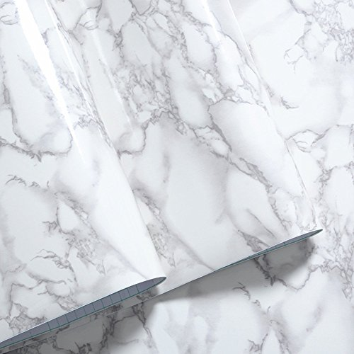 FChome Marble Contact Paper for Countertops Kitchen Cabinet Furniture by Thick Renovated Waterproof Stain-Resistant PVC-Gray/White Roll (15.7