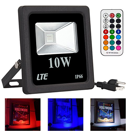 LTE 10W Color-Changing RGB LED Flood Light, 16 Different Colors, 4 Lighting Modes Stage Light,IP66 Waterproof, US 3-Plug,115ft 360° Wireless Remote Controller