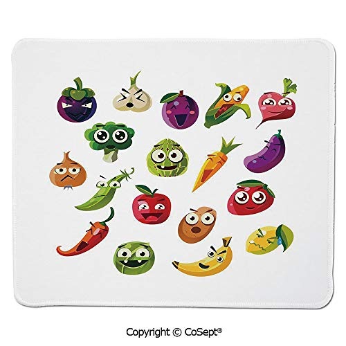 Mouse Pad,Fruits and Vegetables Carrot Banana Pepper Onion Garlic Food Cartoon Style Symbols,Dual Use Mouse pad for Office/Home (11.81