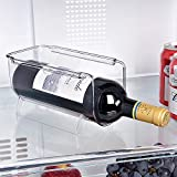 Ambergron Bottle and Wine Storage Holder Rack, Stackable Plastic Red Wine Rack Organizer for Pantry, Kitchen, Fridge, Ideal Storage for Water Bottle, Wine, Soda, and Beer, Clear