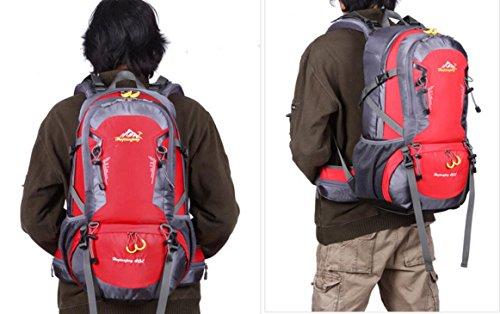 LQABW Multi-funcional Del Hombro Profesional Del Alpinismo Al Aire Libre Femenino Mochila Bolsa De Viaje Hombre Paquete De Viaje De Gran Capacidad,Green Red