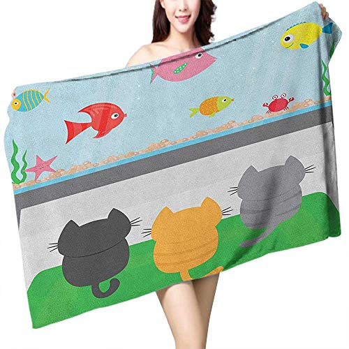 homecoco Beach Towel Cat Cats Sitting on a Carpet and Looking at Cheerful Fish Tank Cat Family of Three Content W28 xL55 Suitable for bathrooms, Beaches, Parties